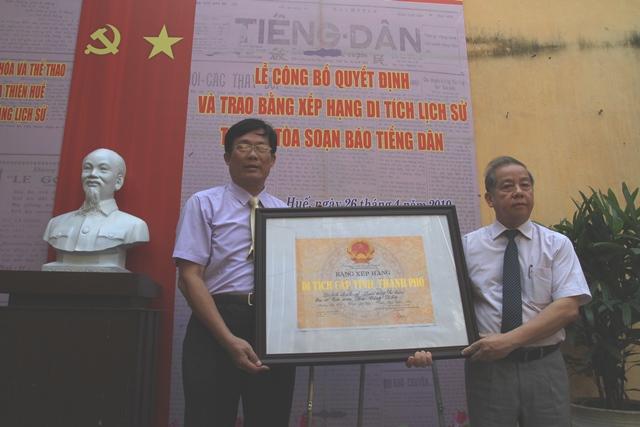 Trụ sở báo Tiếng Dân được công nhận di tích lịch sử cấp tỉnh