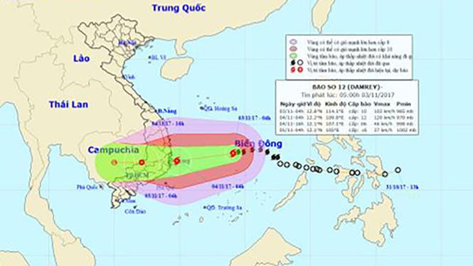 Cảnh báo nước biển dâng, sóng cao 5 - 7m trong bão số 12
