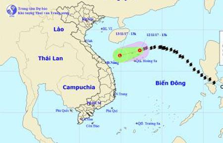 Bão số 13 suy yếu thành áp thấp nhiệt đới, di chuyển theo hướng Tây Tây Nam