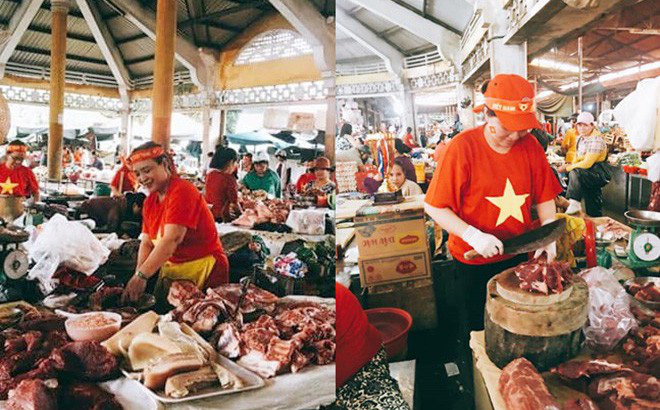 TP Huế đang rất 'nhiệt': Các tiểu thương mặc đồng phục cổ vũ ĐT Việt Nam, phủ đỏ cả chợ