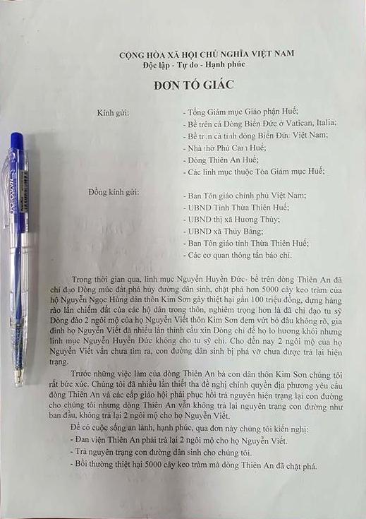 ĐƠN TỐ GIÁC CỦA NHÂN DÂN THÔN KIM SƠN ĐỐI VỚI NHỮNG HÀNH VI NGANG NGƯỢC CỦA ĐAN VIỆN THIÊN AN